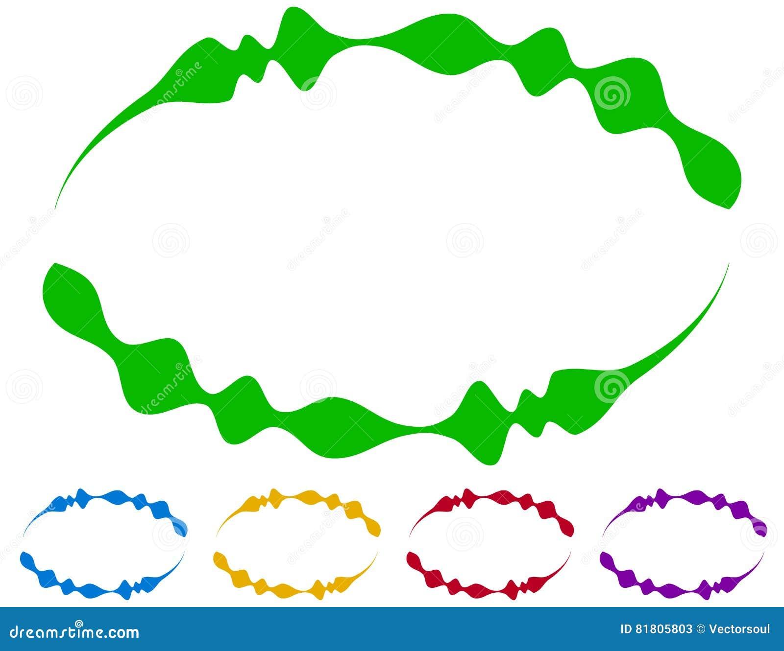 Ovale Rahmen - Grenzen In Fünf Farben Bunte Auslegungelemente Vektor ...