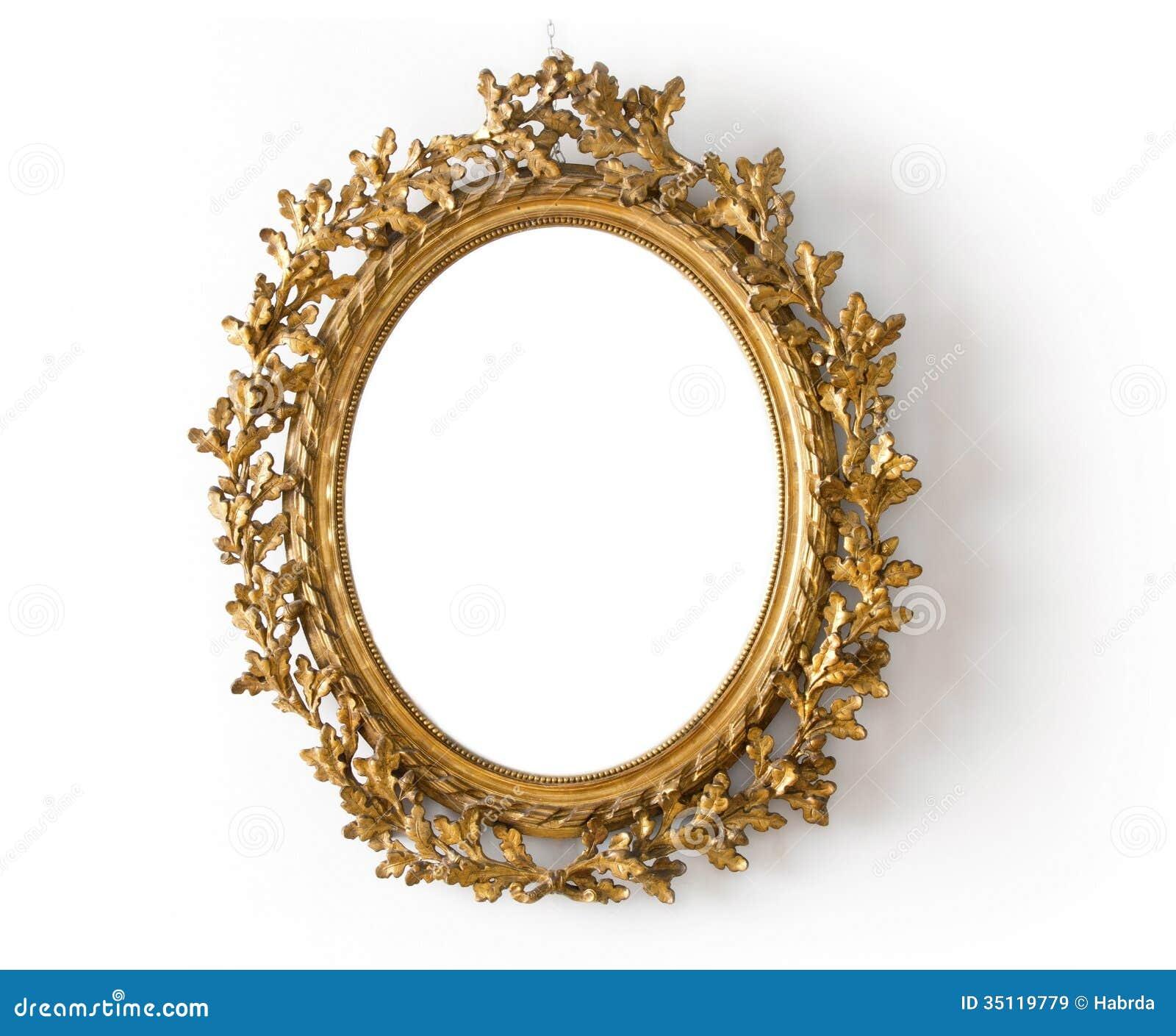Ovale spiegel in een gouden kader royalty vrije stock for Spiegel download