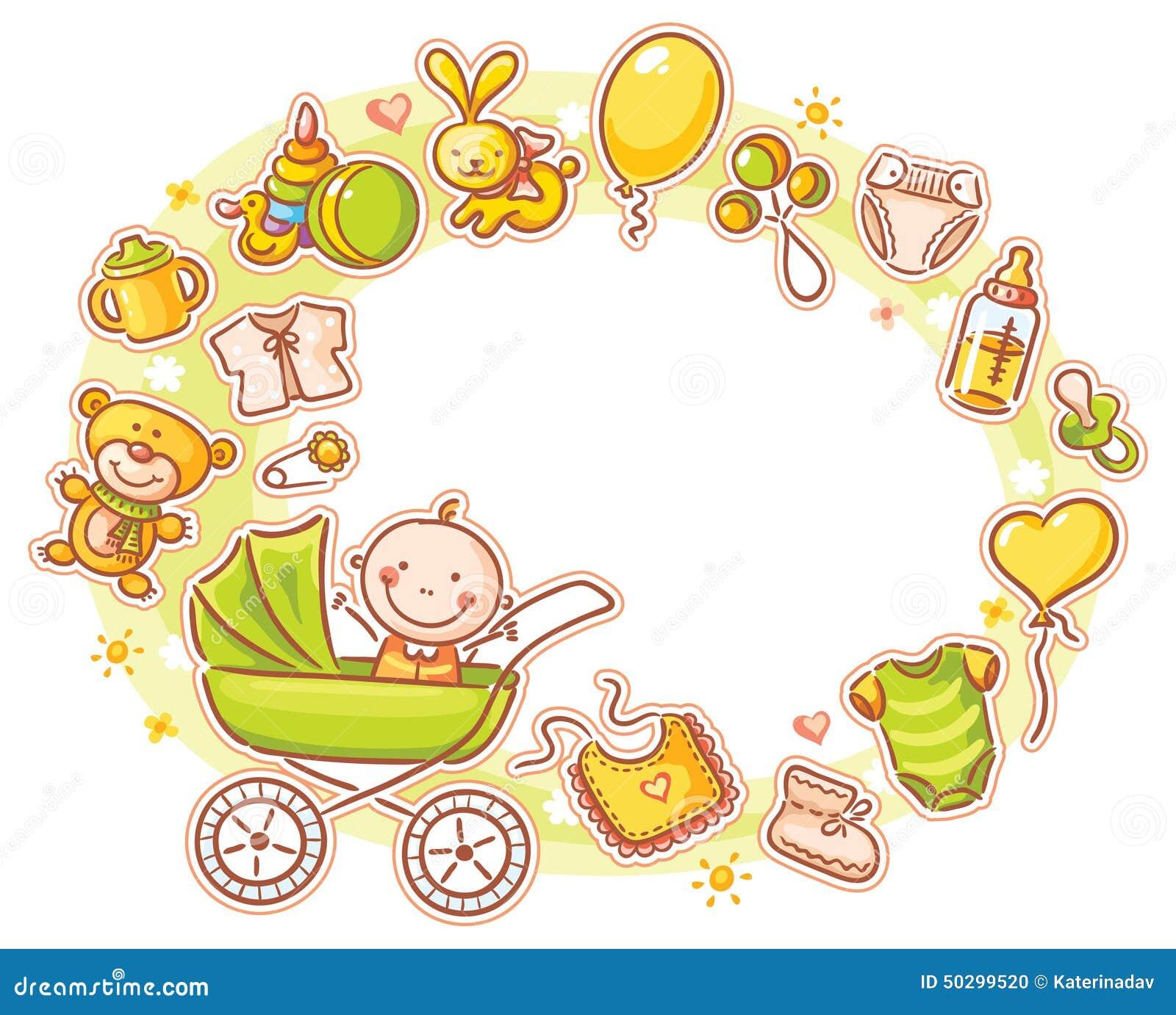 Ovaler Rahmen Mit Karikatur-Baby Vektor Abbildung - Illustration von ...