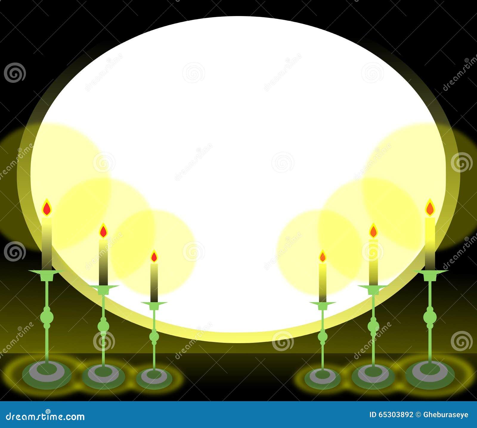Ovaler Rahmen mit Kerzen stockfoto. Illustration von verwendet ...