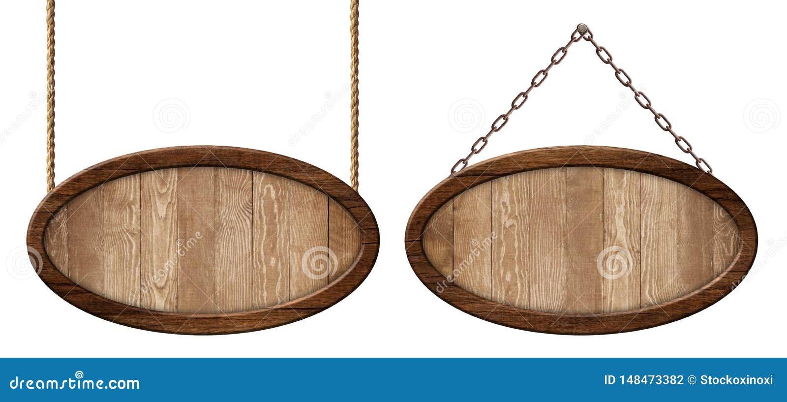 Ovales hölzernes Brett hergestellt vom Naturholz und mit dem dunklen Rahmen, der auf Seilen und Ketten hängt