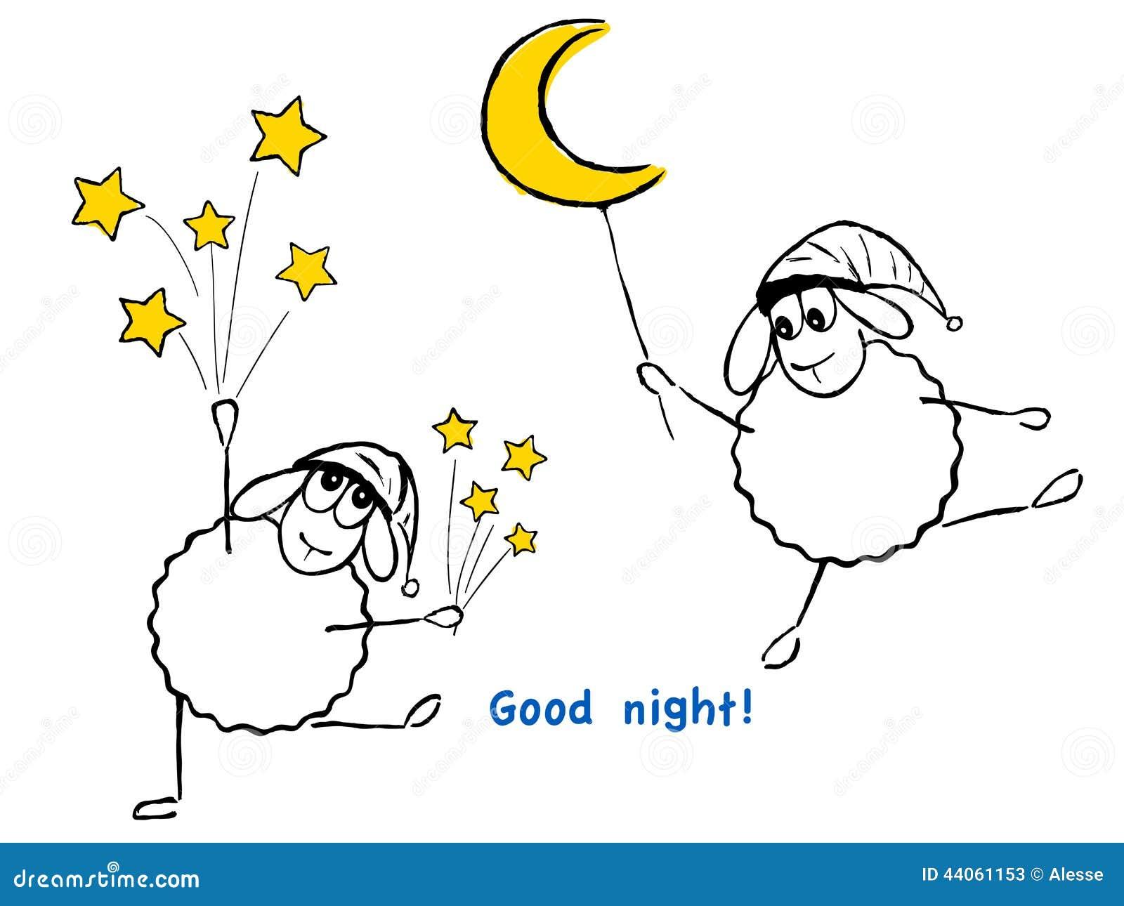 ¡Ovejas, Estrellas Y Luna Divertidas, Buenas Noches