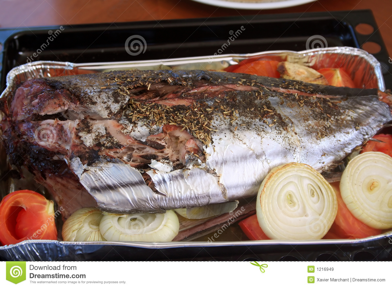 Oven baked fish royalty free stock images image 1216949 for Oven baked fish