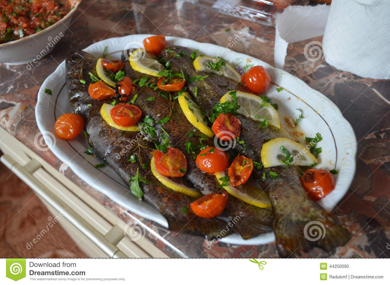 Oven Baked Potatoes With Fresh Vegetables On A Pla Royalty ...