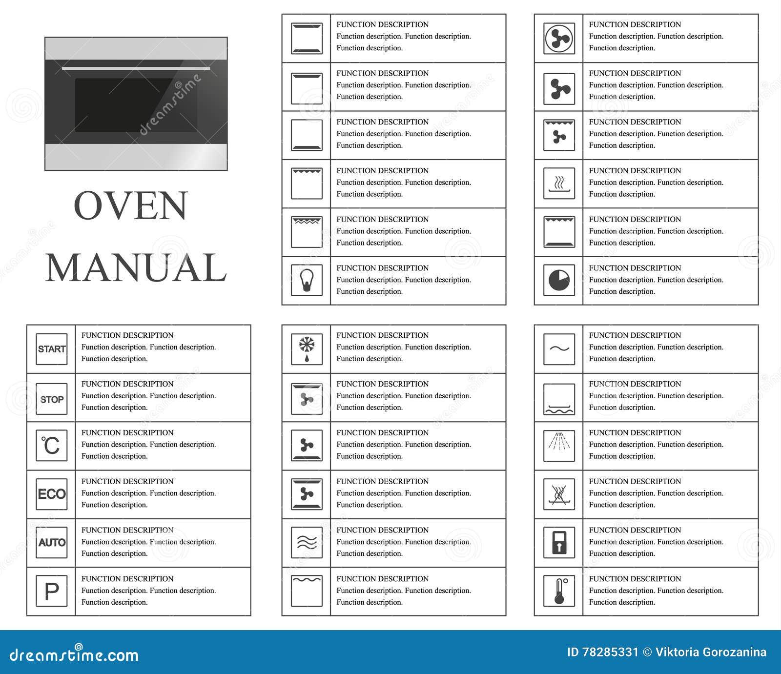 oven handsymbolen instructies tekens en symbolen voor het handboek van de ovenbenutting. Black Bedroom Furniture Sets. Home Design Ideas