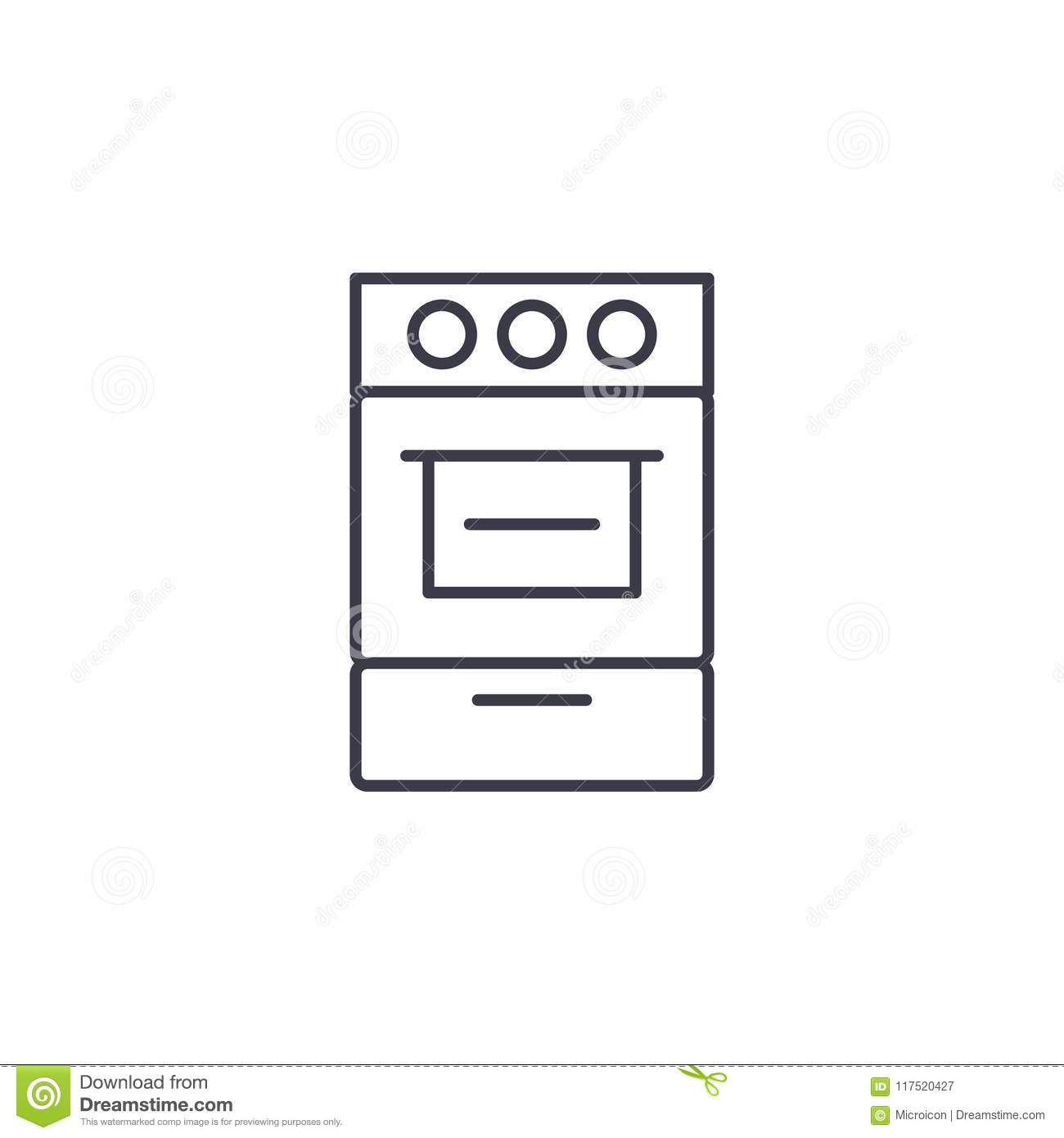 Oven Linear Icon Concept Oven Line Vector Sign Symbol