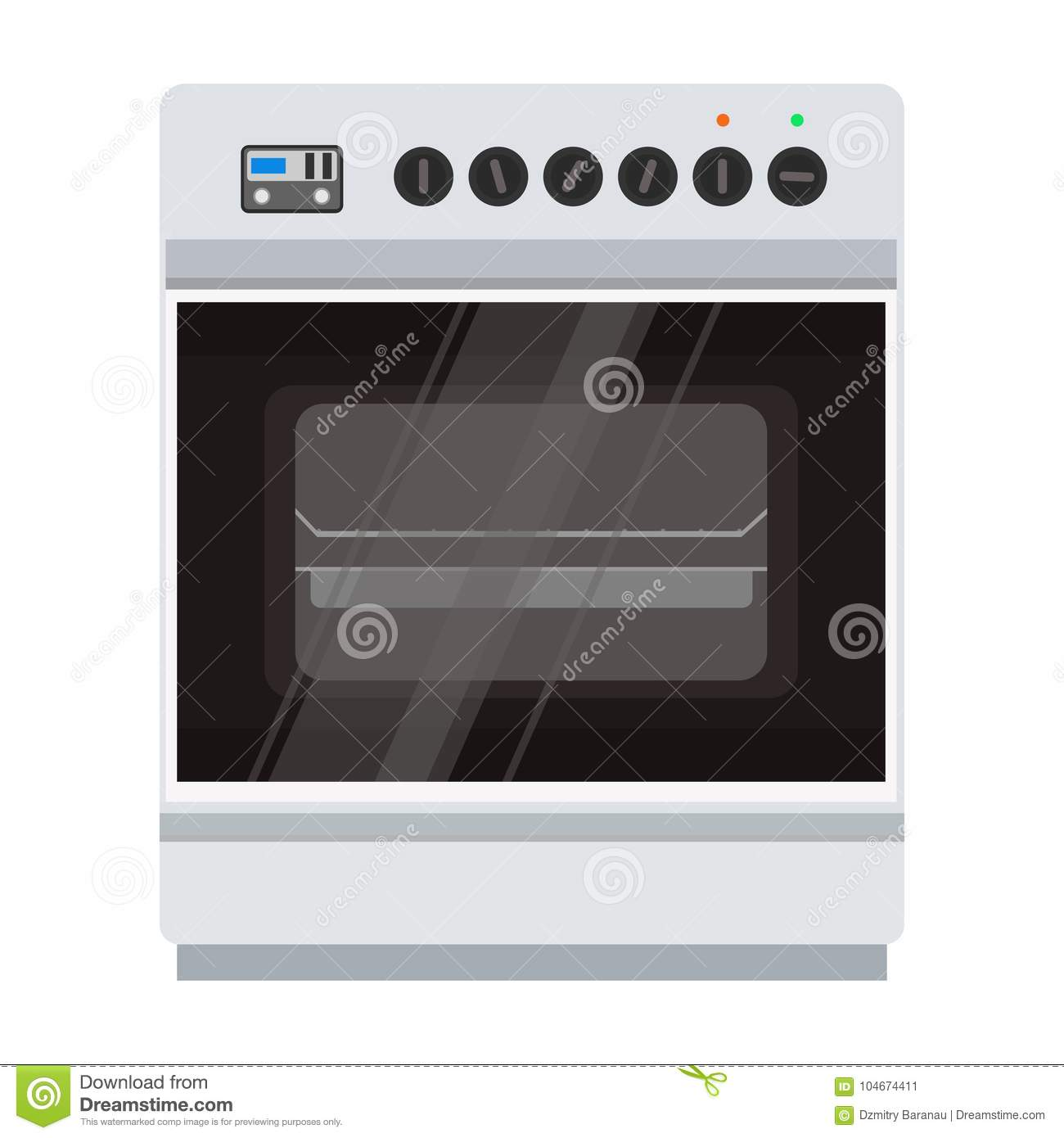Oven stove vector icon illustration. Food cooking kitchen pizza