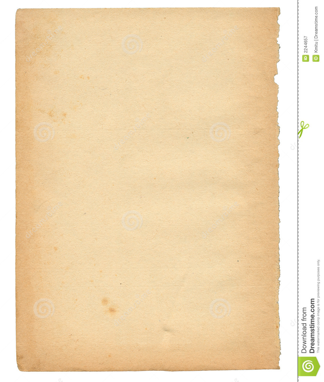 Page: Over 50 Years Old Paper Page Stock Image