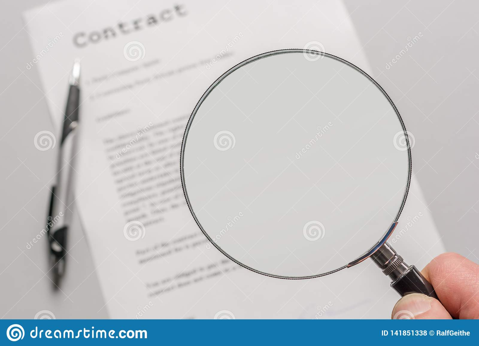 Contract with empty magnifying glass as a template for further processing
