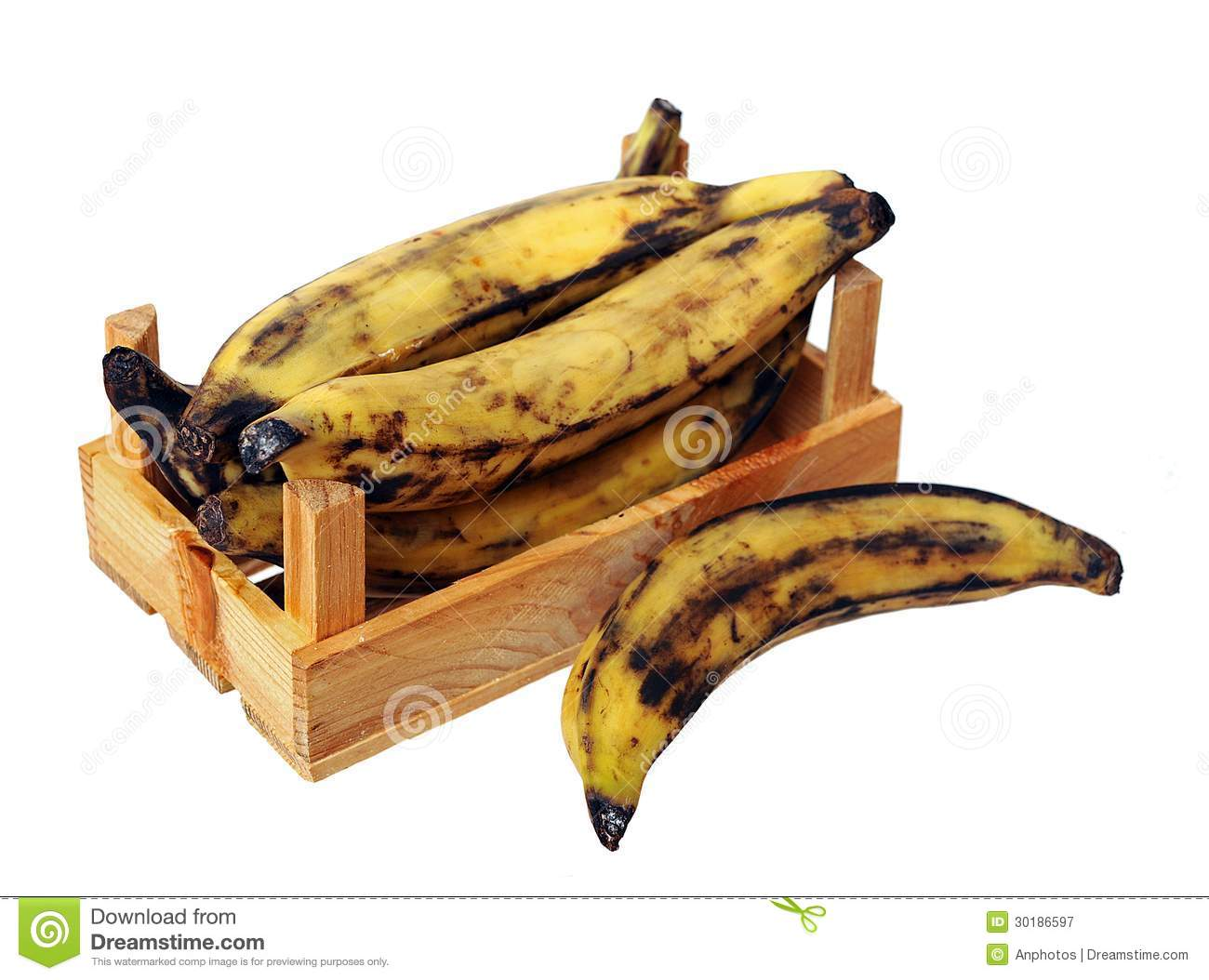Over Ripe Plantain Banana In Crate Royalty Free Stock
