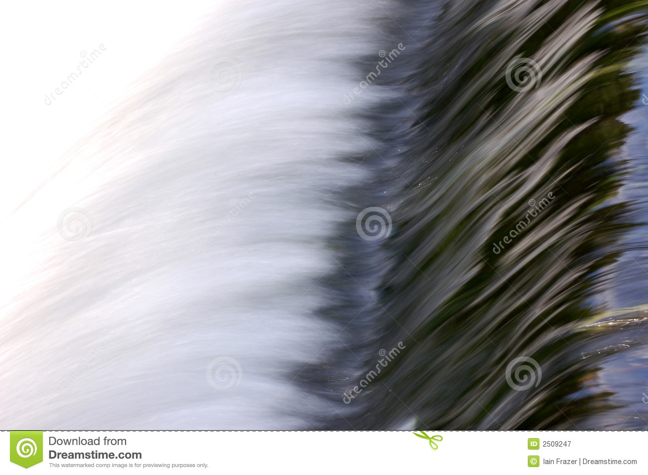 Over rushing water weir