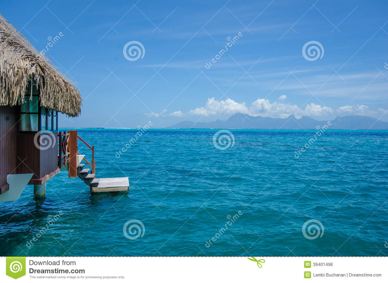 Over Water Bungalow With View Of Amazing Blue Lagoon Stock ... - photo#19
