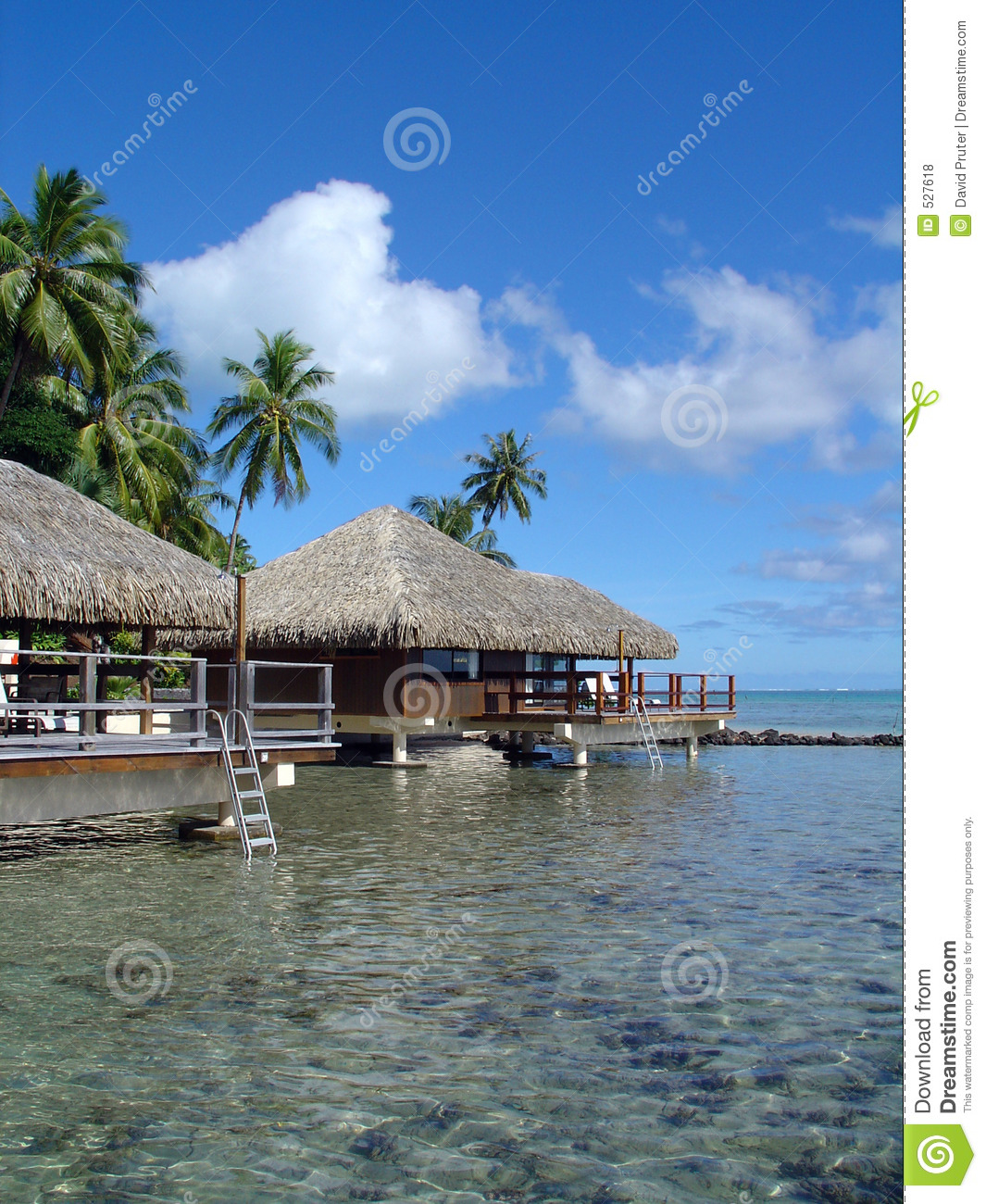 Tahiti Accommodation Over Water Bungalows: Over-Water Bungalows Royalty Free Stock Photos