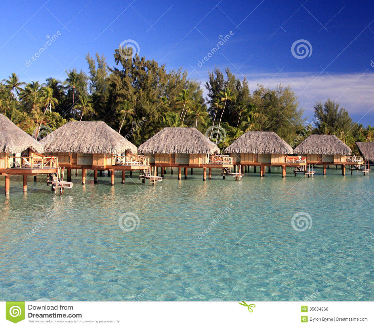 Over Water Bungalows In Bora Bora Stock Photo Image Of