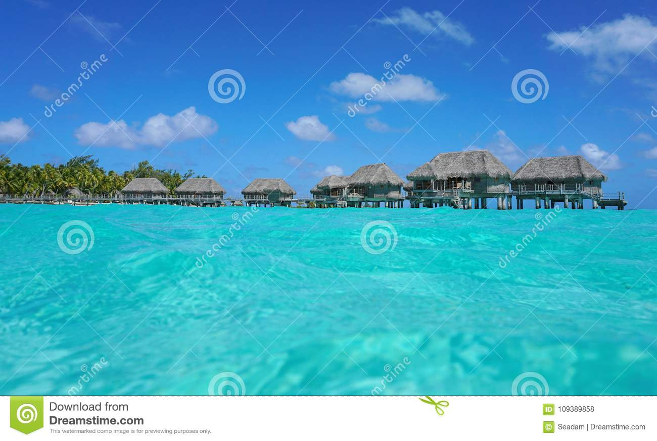 Over water bungalows and sea surface