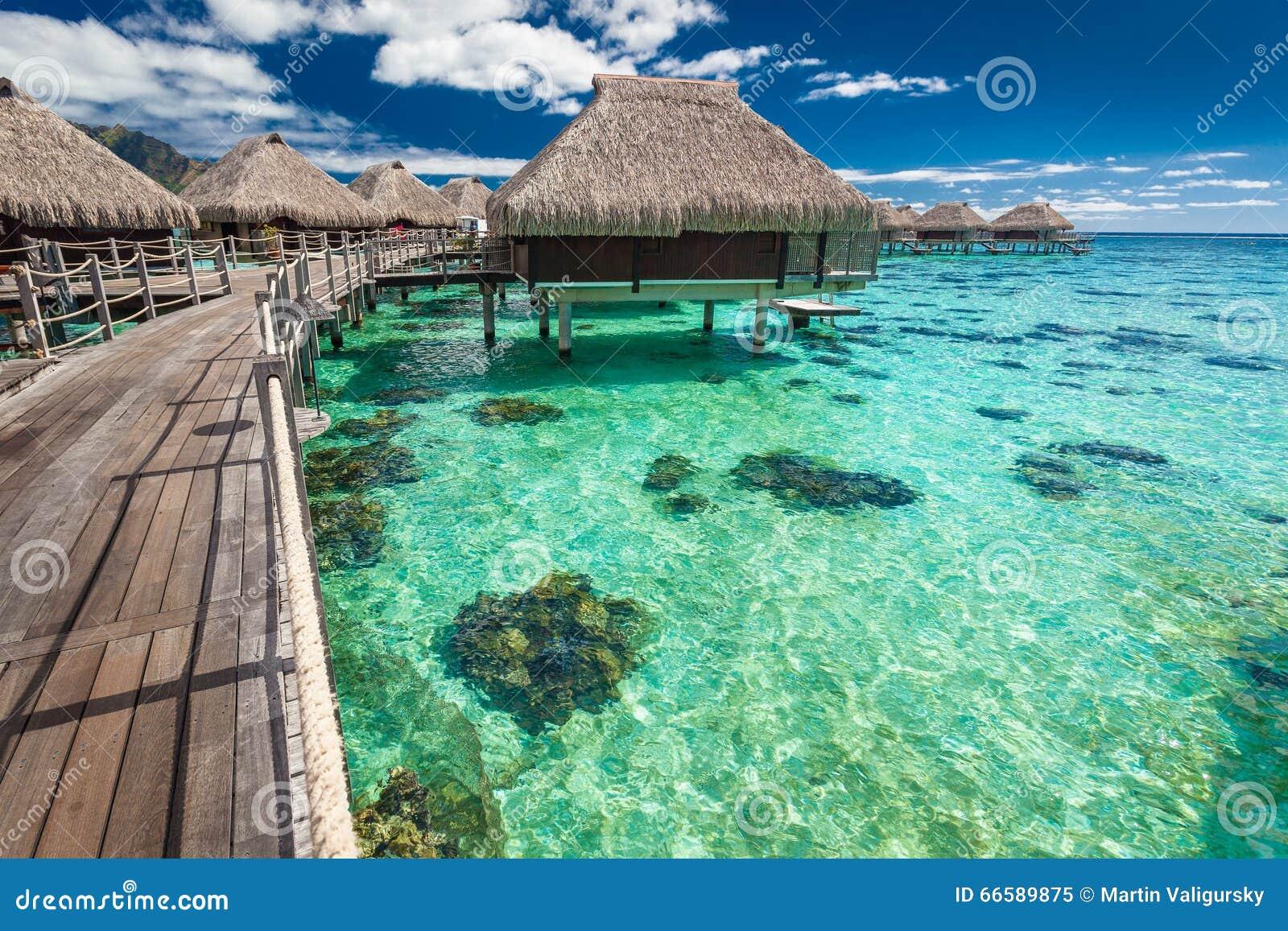 Lagoon Tropical Island: Over Water Villas On A Tropical Lagoon Of Moorea Island