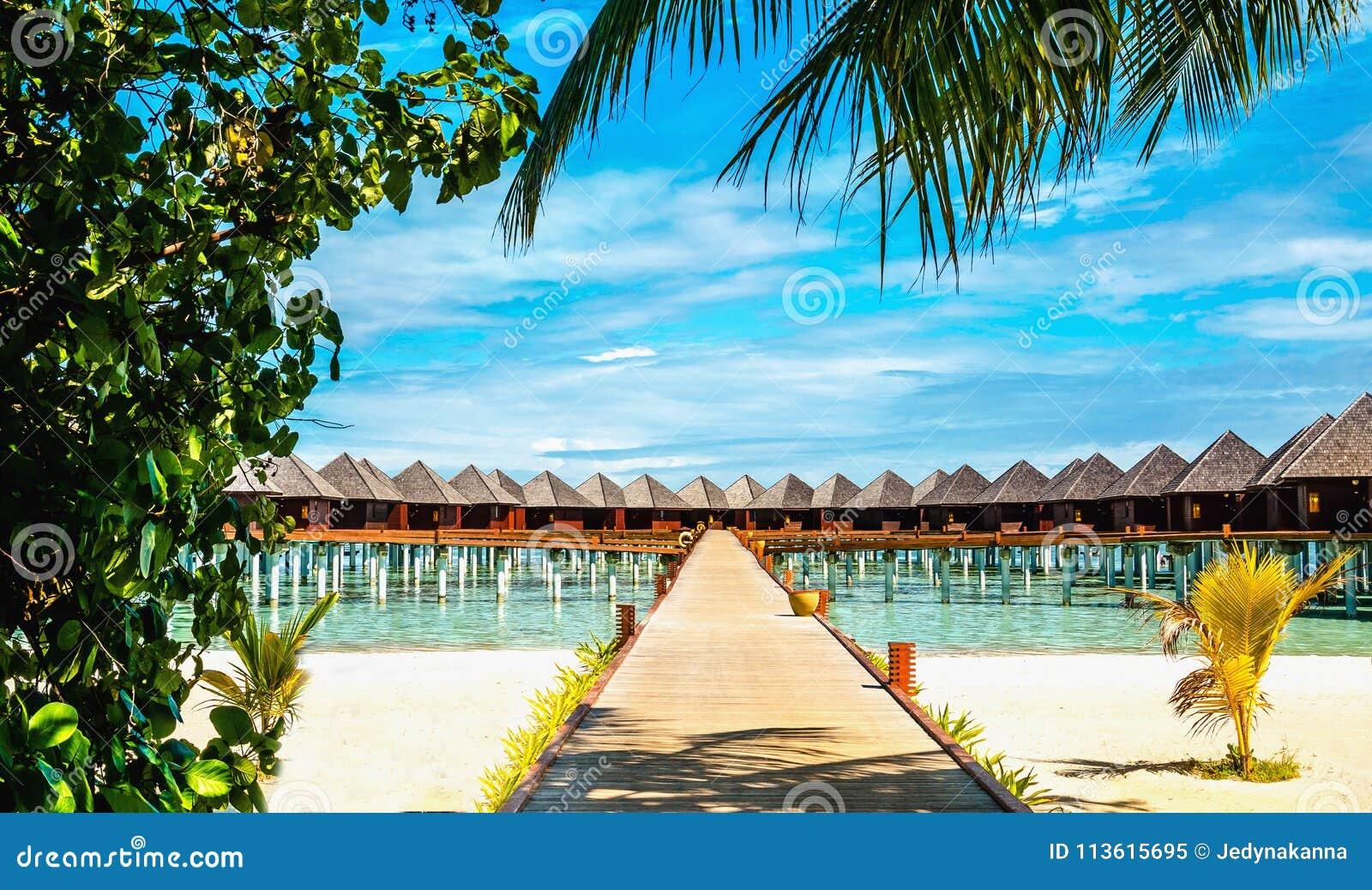 Over waterbungalowwen op een tropisch eiland, de Maldiven