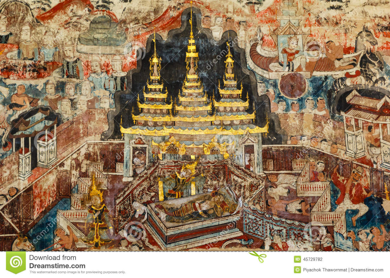 Over 300 year old mural paintings in thailand stock photo for Cost of mural painting
