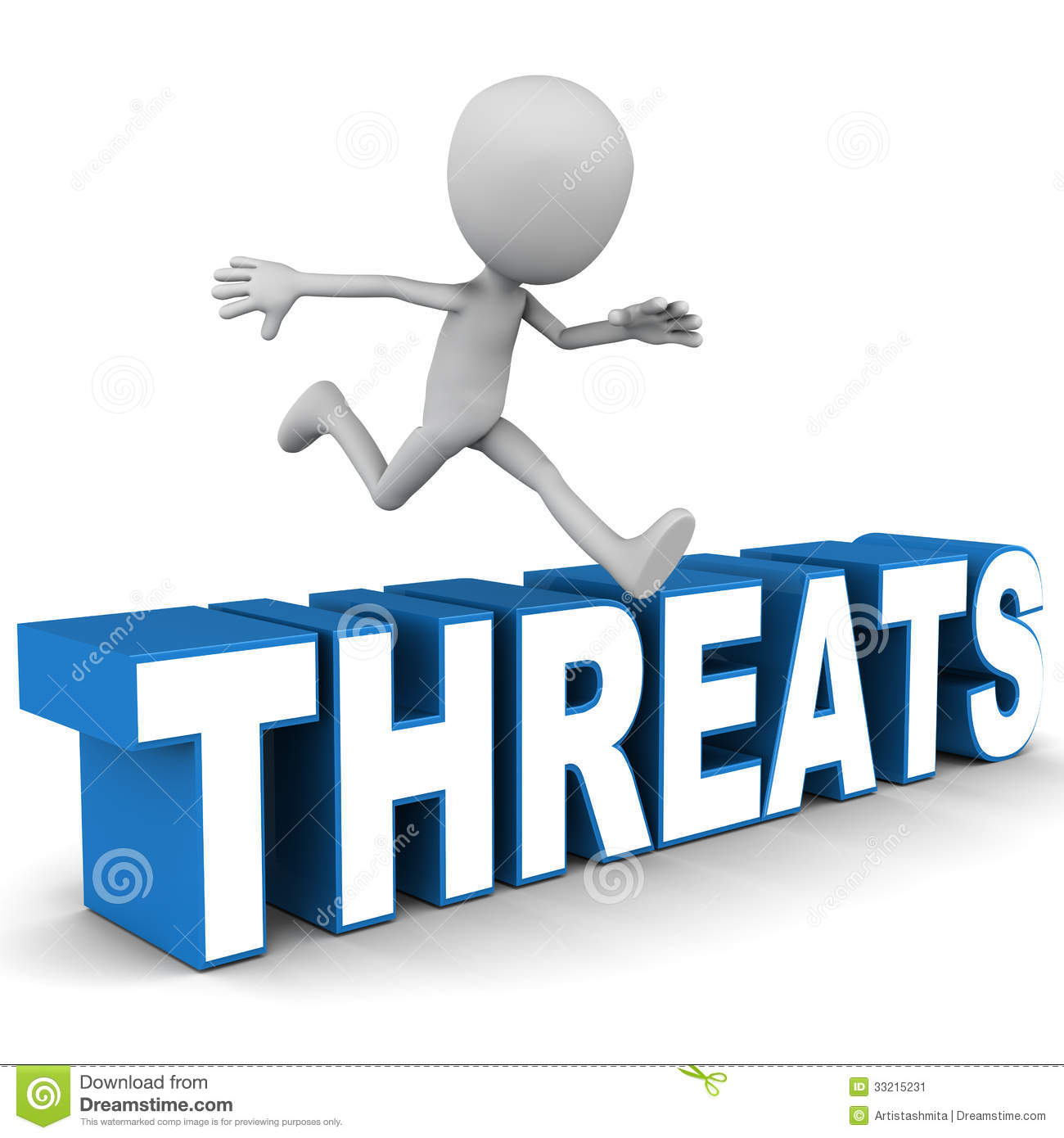 Overcome threats concept, man jumping over threats word over white ...