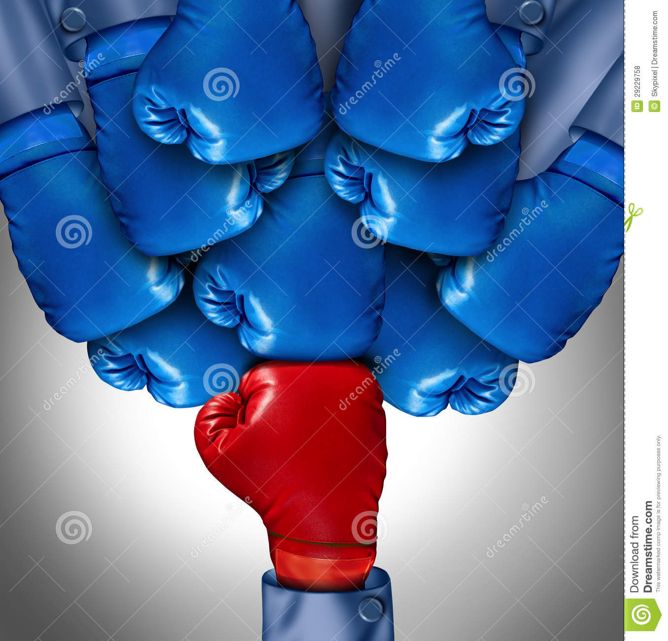 ... boxing gloves ganging up on a single red glove as a business symbol of