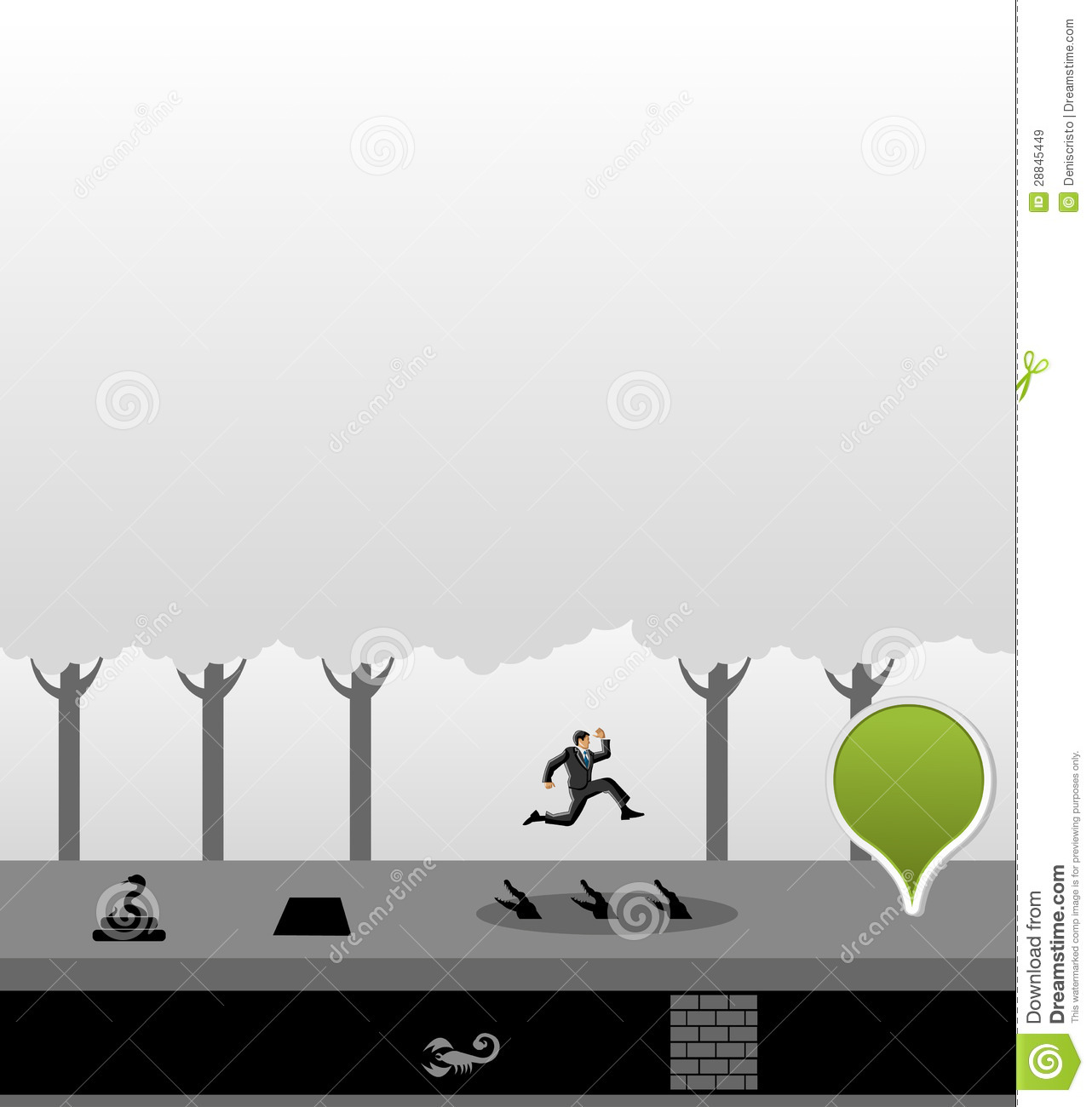 Business man jumping over dangerous obstacles on jungle overcoming