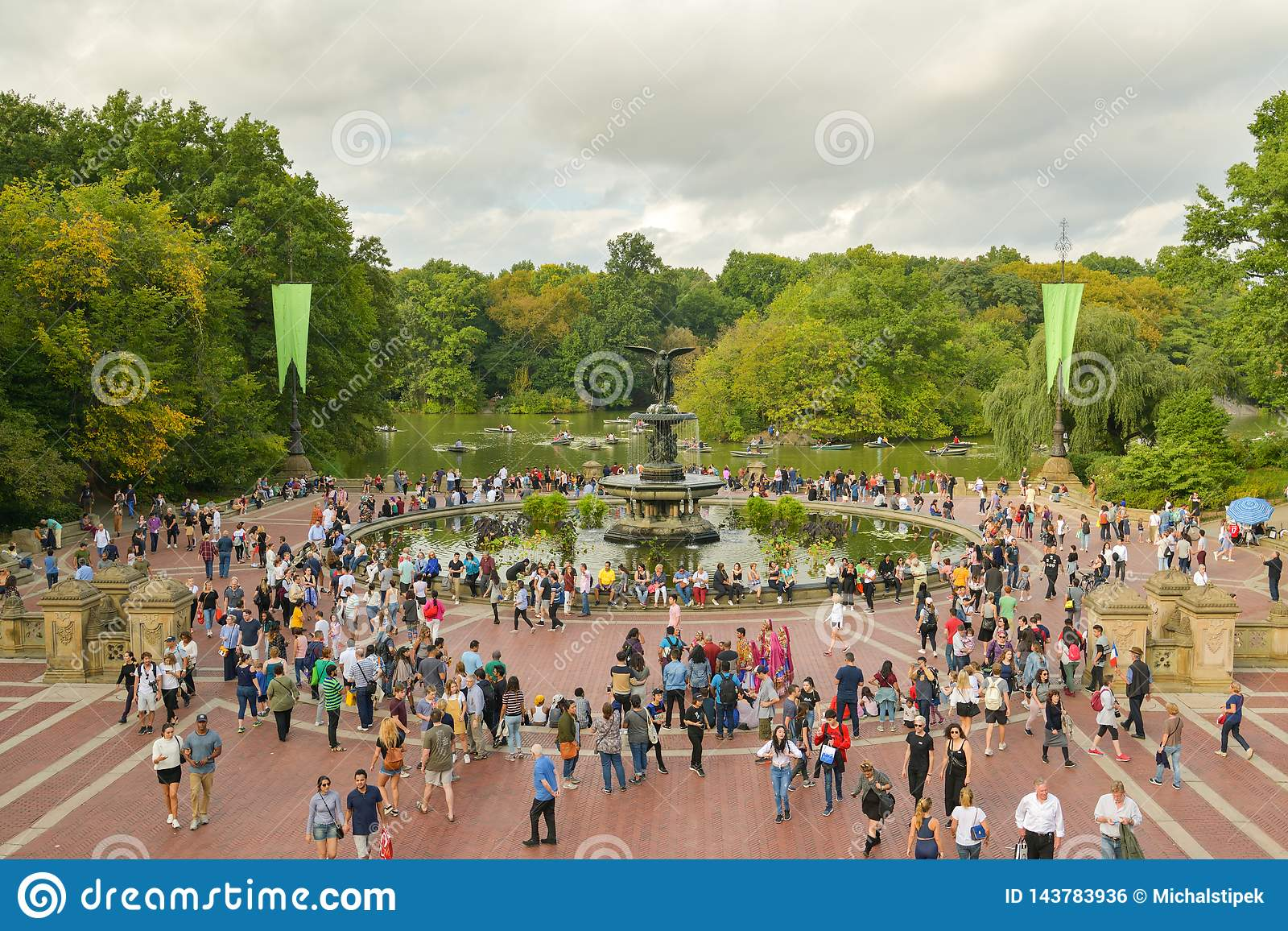 Overcrowded Bethesda Terrace in Central Park, New York City