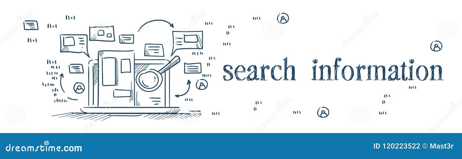Overdrijf de informatie van het glasonderzoek over laptop het doorbladeren van Internet concept op de witte banner van de achterg