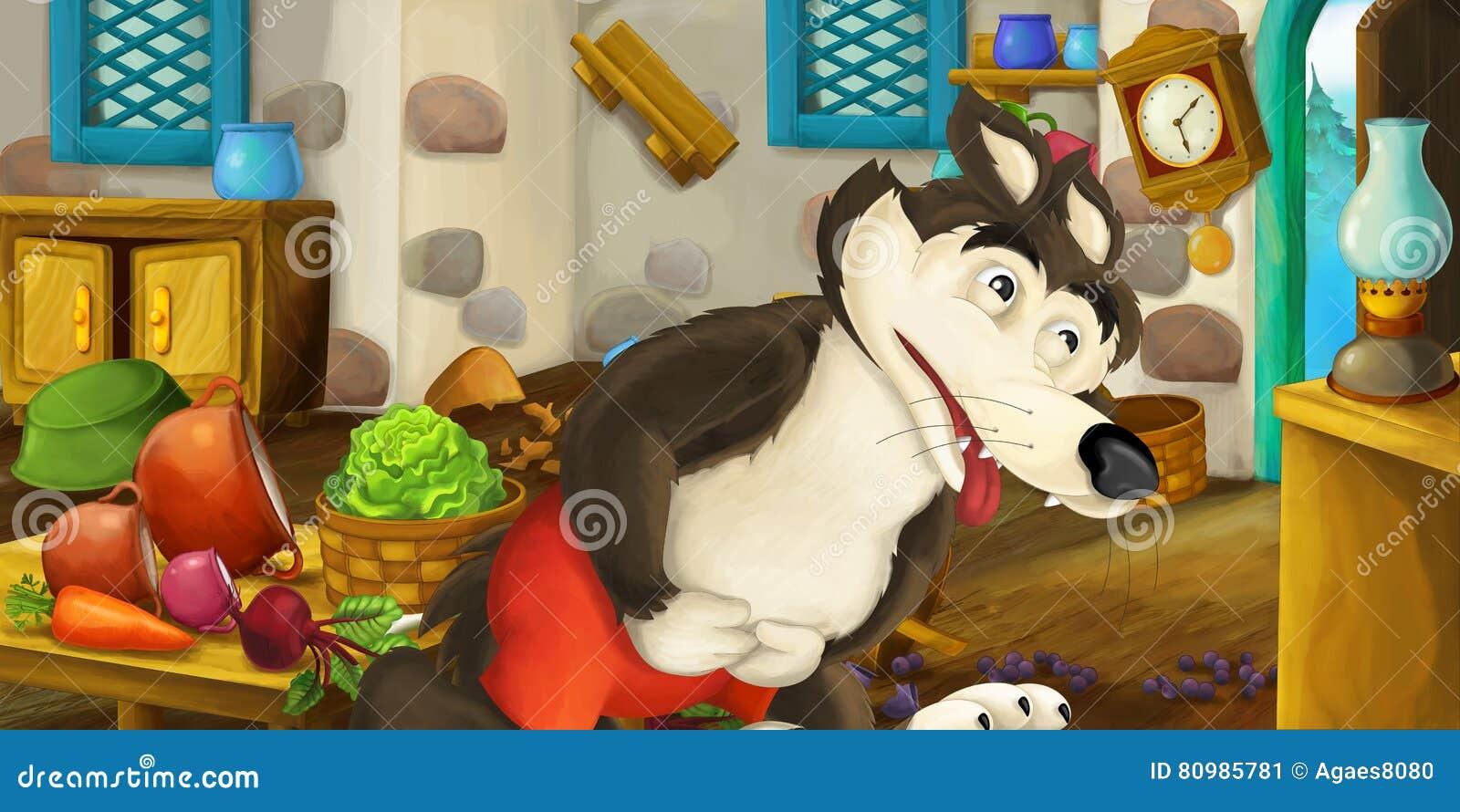 Overeaten de beeldverhaal gelukkige en grappige scène van oude stijlkeuken en wolf - voor verschillend gebruik