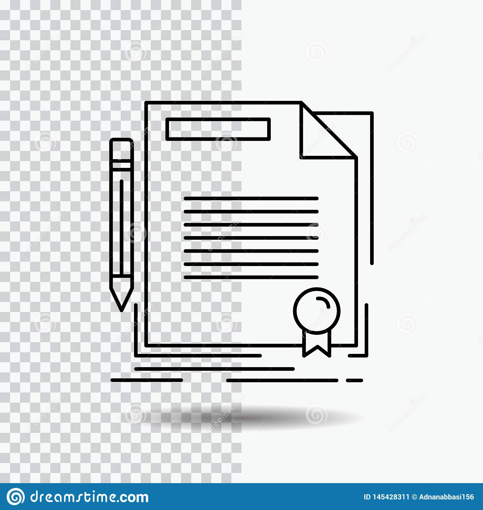 Overeenkomst, contract, overeenkomst, document, document Lijnpictogram over Transparante Achtergrond Zwarte pictogram vectorillus