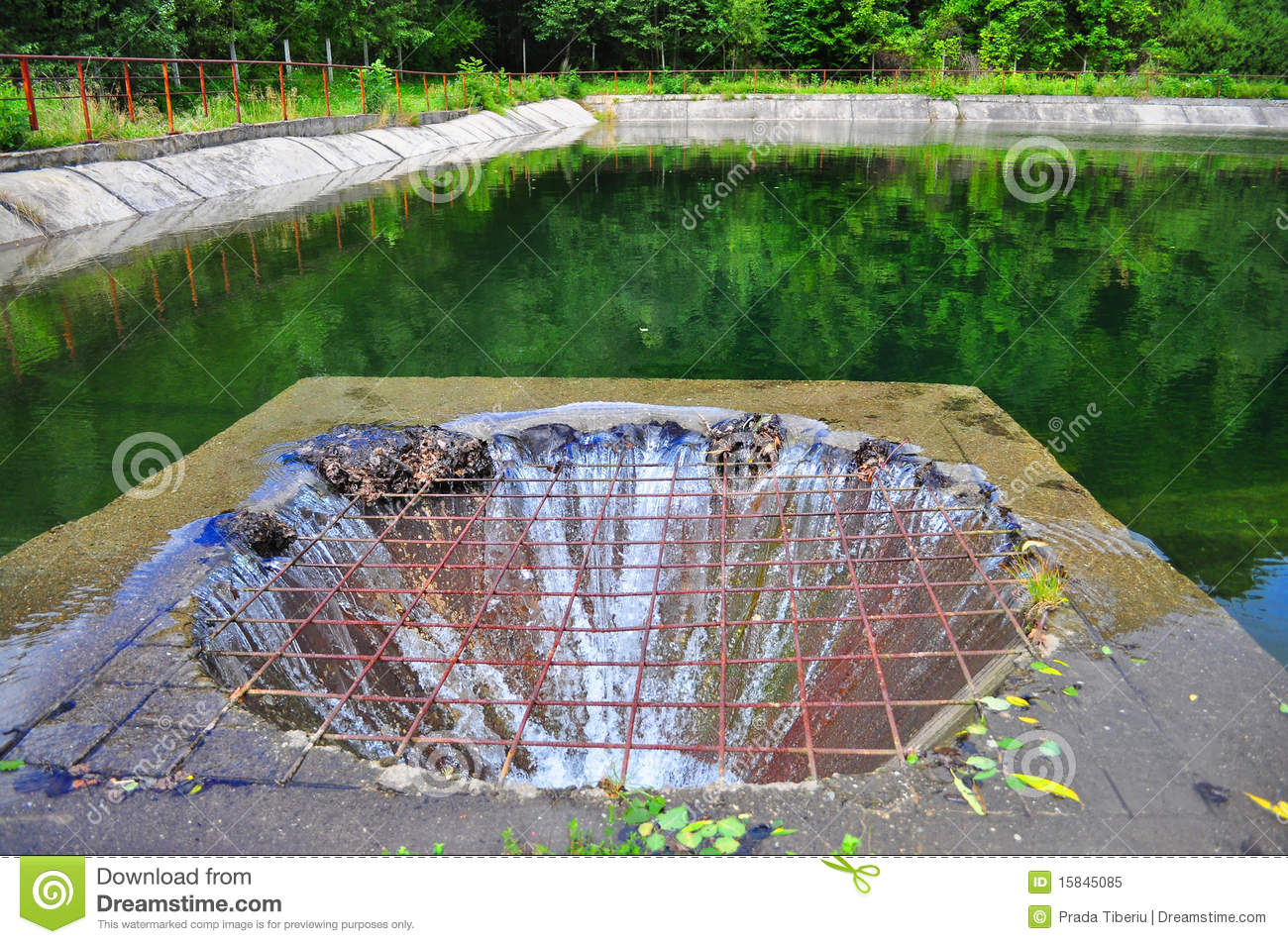 Overflow drain on lake royalty free stock photo image for Garden pond overflow design