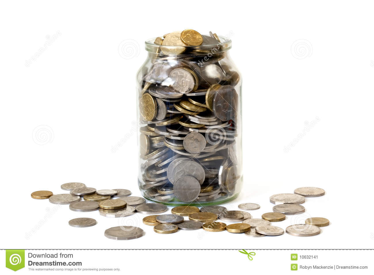 overflowing jar of coins stock image image 10632141
