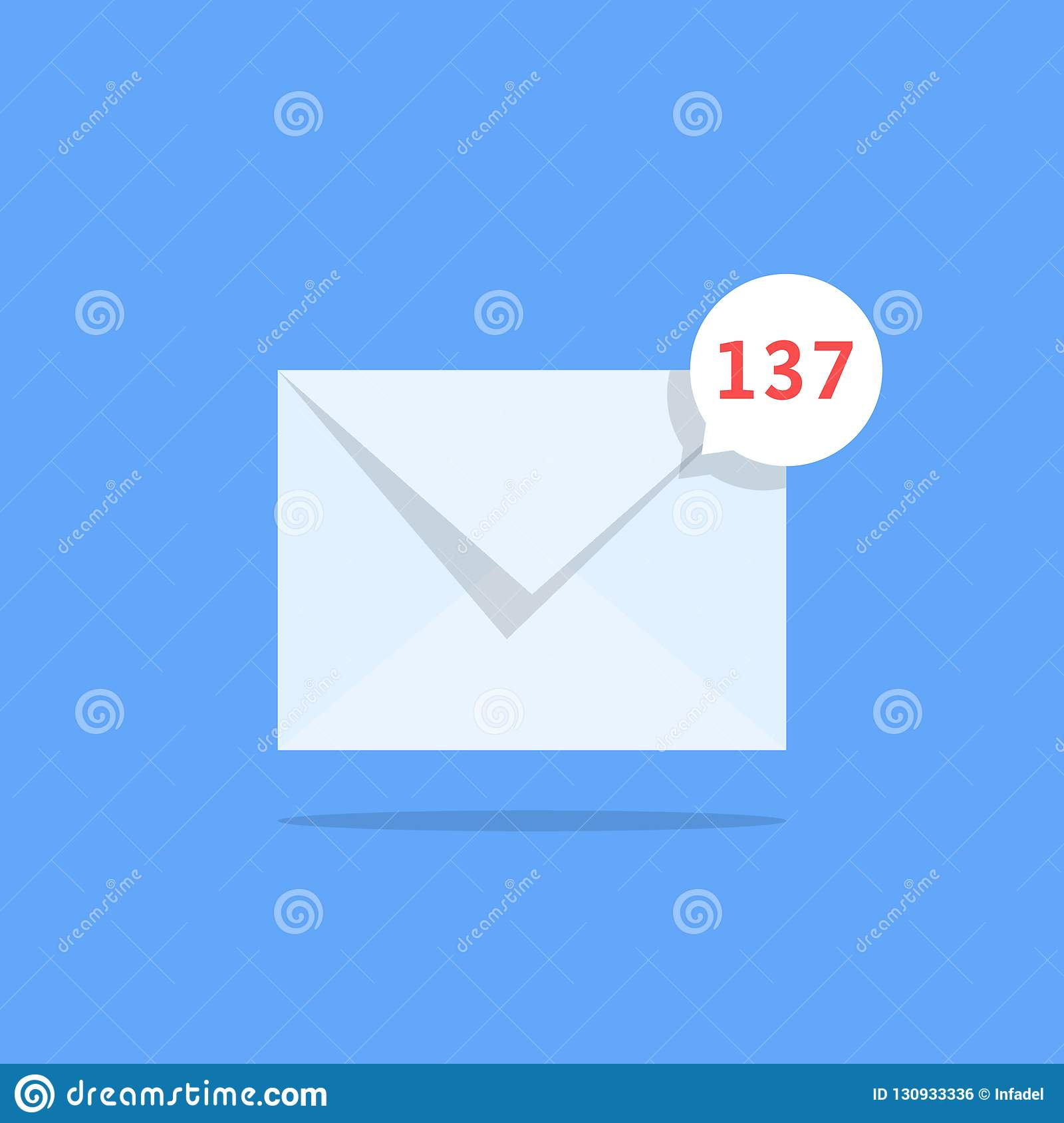 Overflowing mailbox like white notification email