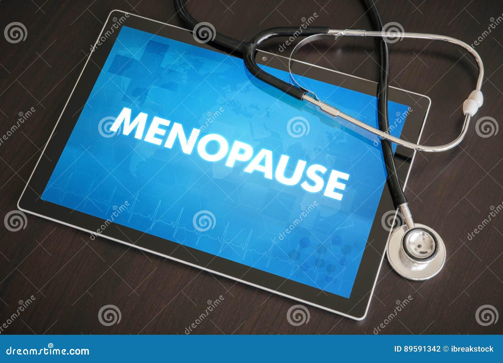 Overgang (menstruele verwante cyclus) medisch concept op tabletsc