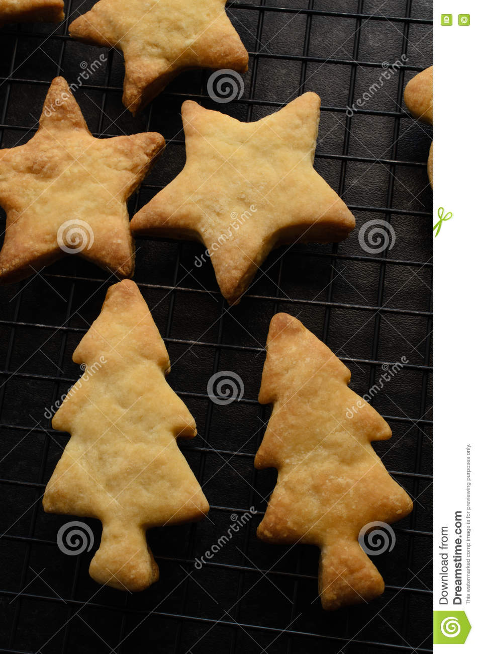 Overhead Of Christmas Biscuits On Cooling Rack Stock Image Image