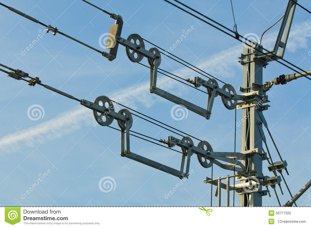 Overhead contact wires of electrified railway tracks kept under tension