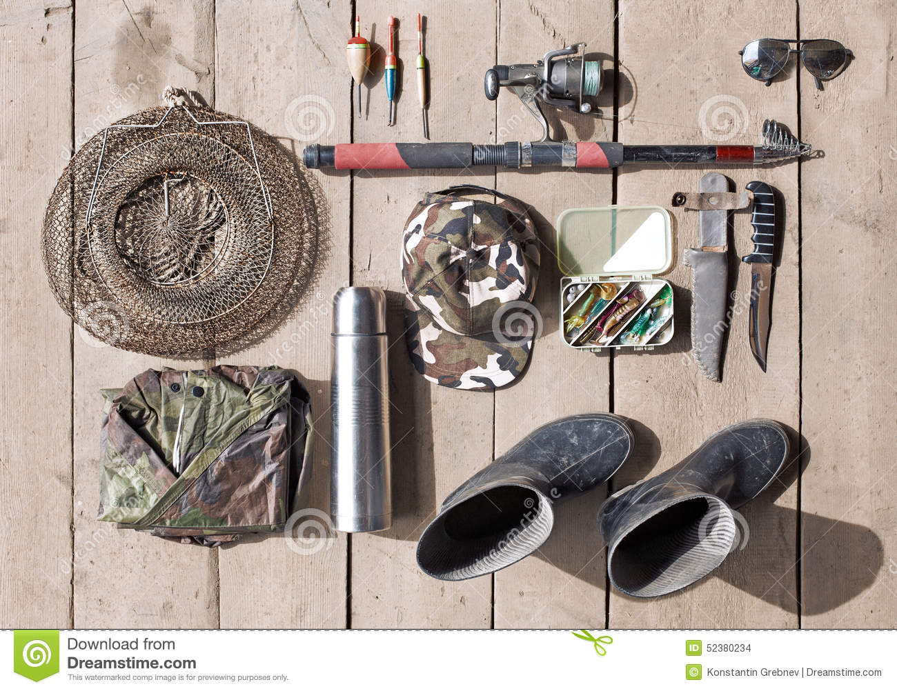 Overhead of essentials for fisherman. Fshing tackle and equipmen