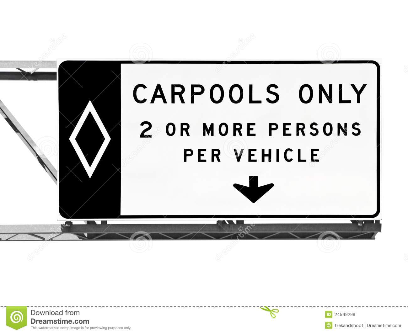 Overhead Freeway Carpool Only Sign Isolated Royalty Free Stock Image ...