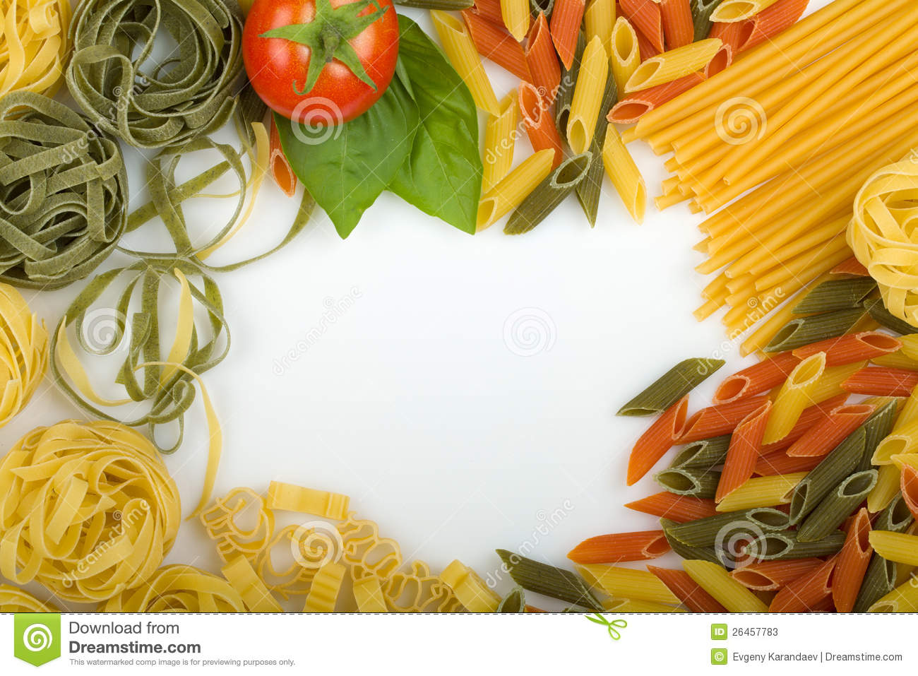 Overhead Italian Pasta Background Stock Photos Image
