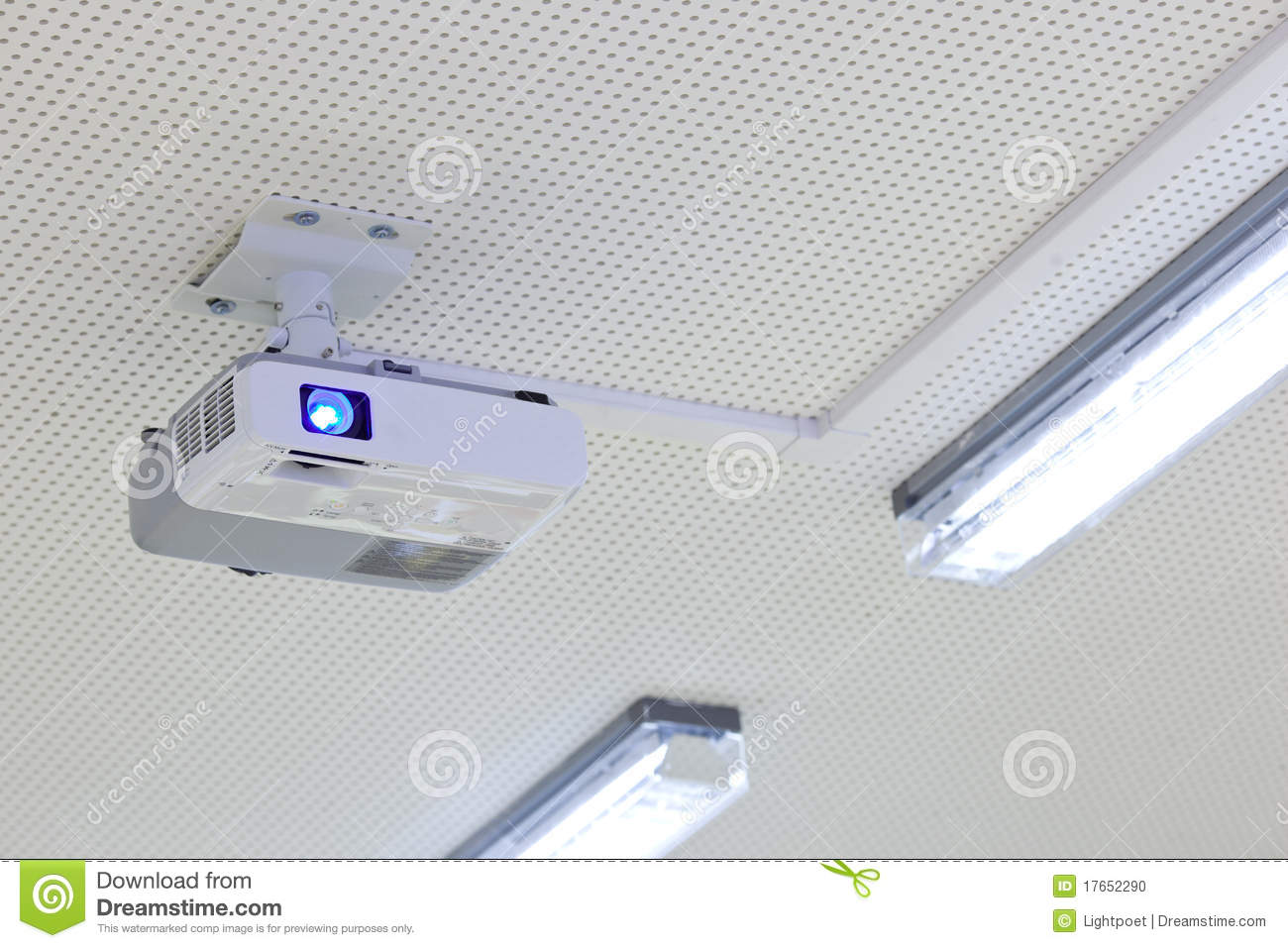 Modern Classroom Projector ~ Overhead lcd projector in a modern classroom stock photo