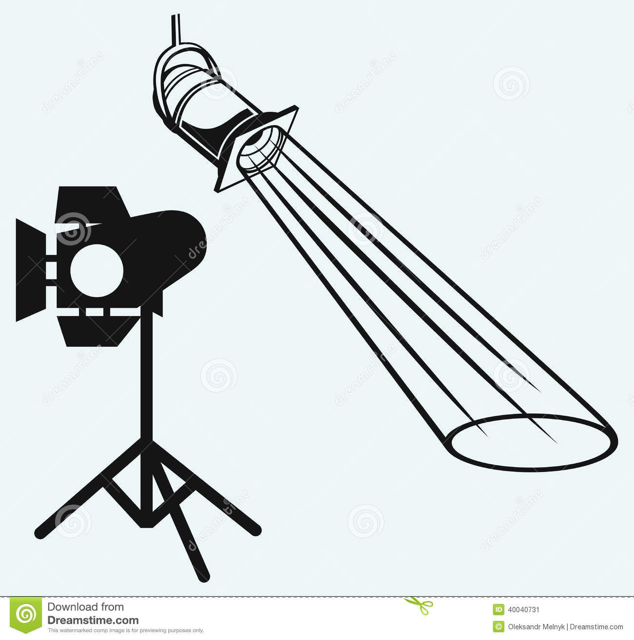 Overhead Lights With Beam. Studio Lighting Stock Vector