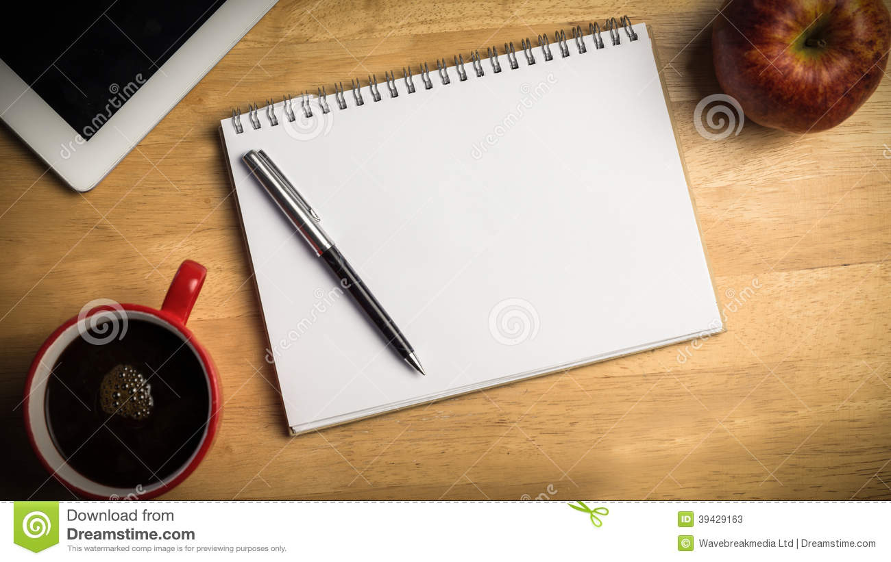 Overhead Of Notepad And Pen Stock Photo Image 39429163