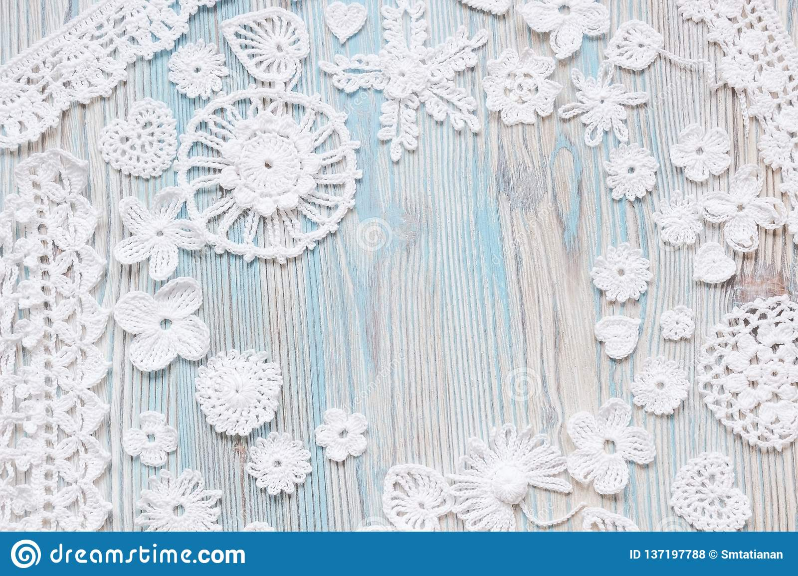 An Overhead Photo Of White Vintage Handmade Irish Lace Crochet