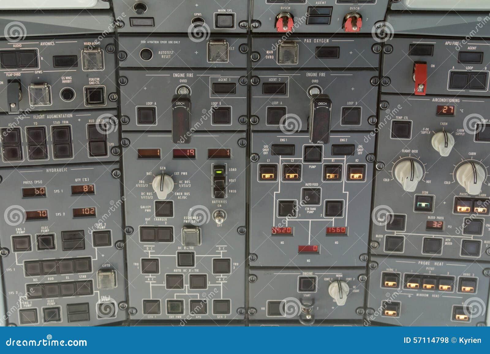 Overhead Plane Control Panel Stock Photo - Image of flight