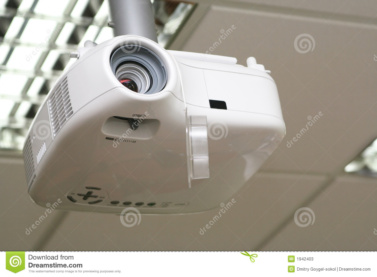 Overhead Projector Under The Ceiling In Boardroom Stock