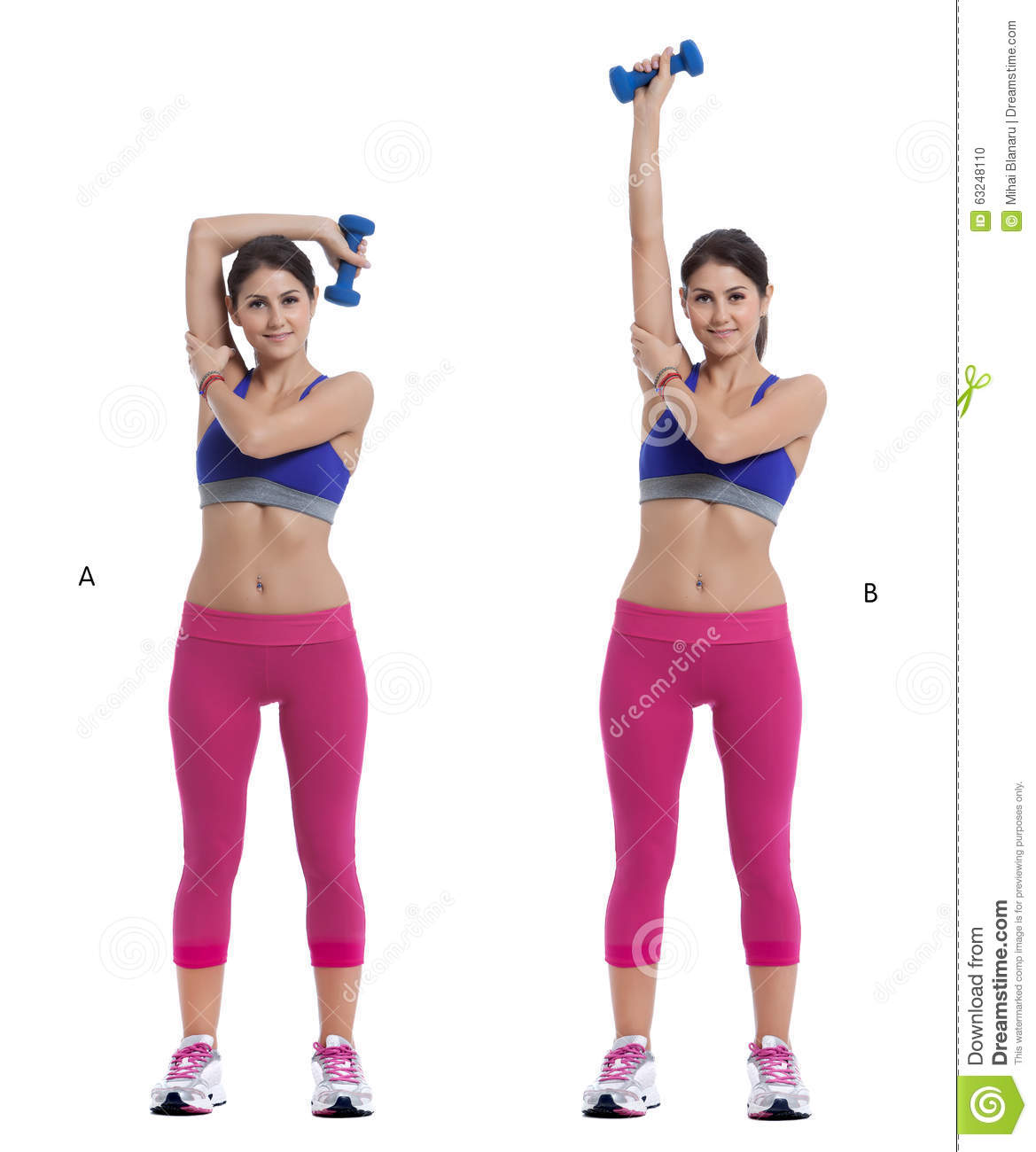 Overhead Triceps Extensions With Dumbbell Stock Photo ...