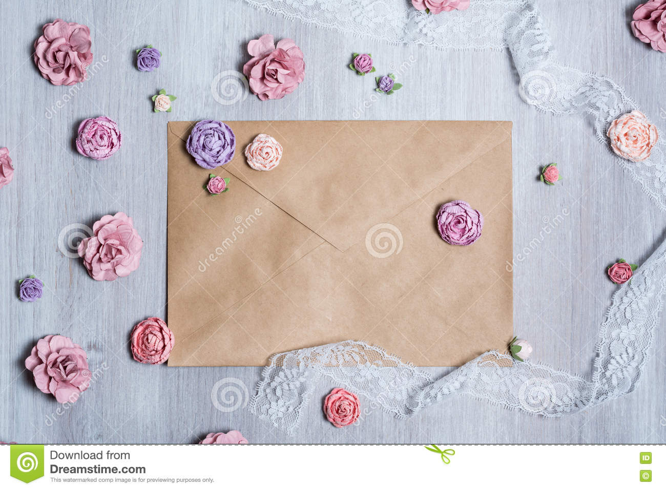 Overhead view of beautiful scattered pink flower background.