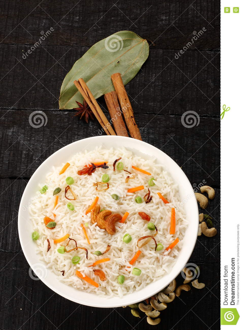 Overhead view-Bowl of delicious vegetarian fried rice with basmati rice