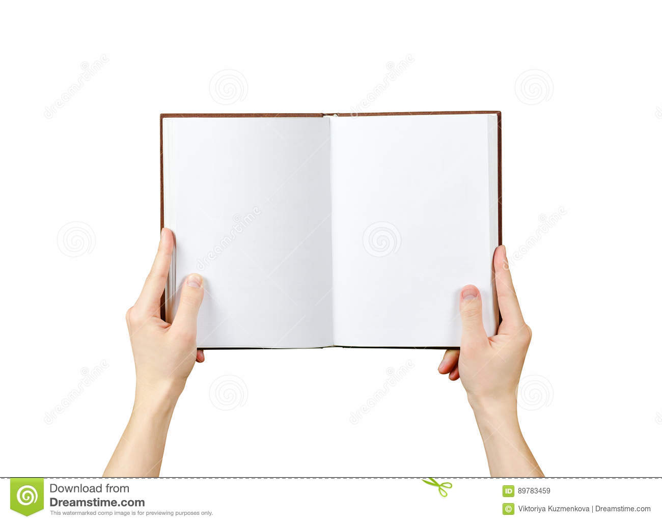 Overhead view of hands holding a blank book ready with copy space ready for text. Isolated on white background. With clipping path