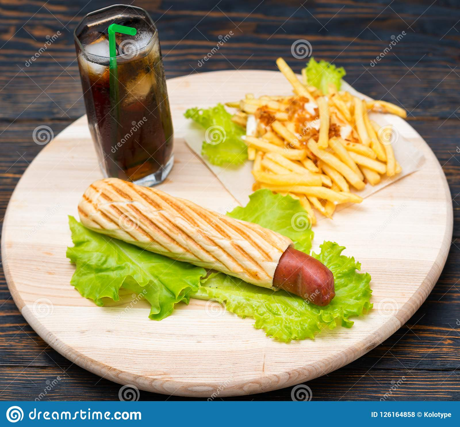 Overhead View Of Hot Dogs And Fries Next To Soda Stock Photo Image
