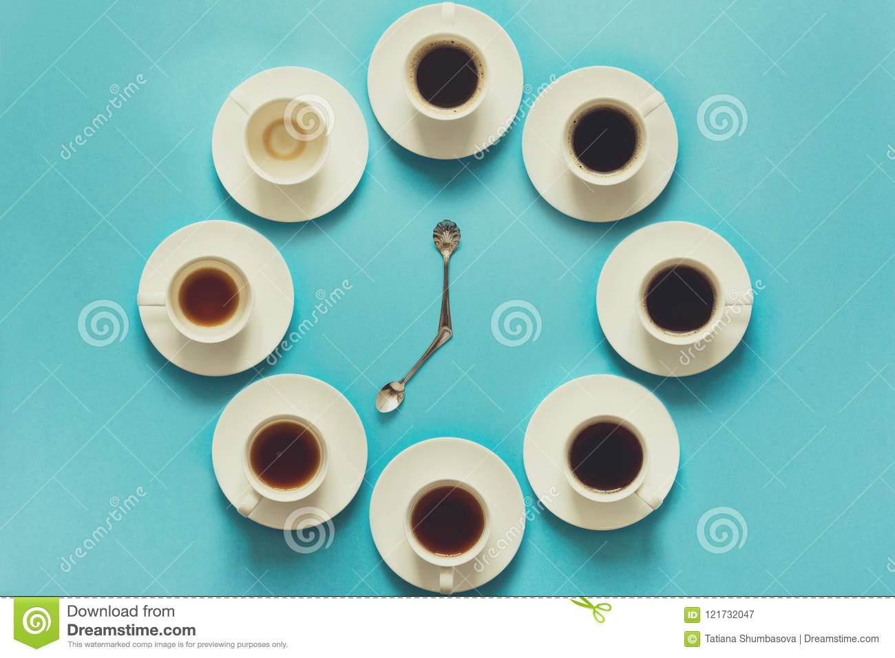Overhead view of the steps in drinking a cup of fresh espresso. Coffee clock. Art food. Good morning concept. Toned